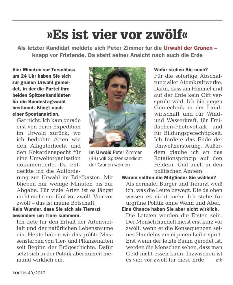 4 vor 12 - Vom Urwald zur Urwahl - Focus Interview mit Dr. Peter Zimmer, Focus 01 Okt. 2012, Nr 40-1 s.19